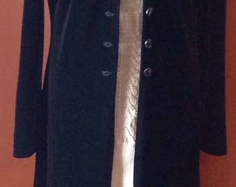 Vintage coat VELVET BLACK/jacket long, surtout, Canada-US SIZE12, France 42 / / Style-Gothic/Punk/Rock/classic