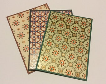 Moroccan card set, mosaic tiles greeting cards, any occasion, patterned cards, gift cards, set of 3, Moroccan stationery
