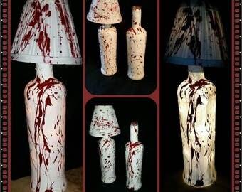 handpainted blood-splatter wine bottle lamp