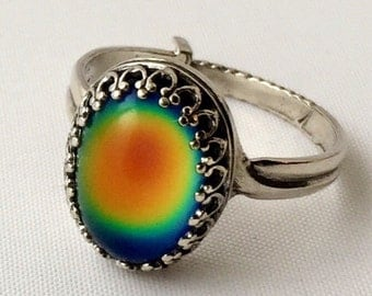 STERLING Silver 925 MOOD RING Medium Oval Crown Colorful 14x10mm Aurora Rainbow Color Changing Adjustable Band Jewelry