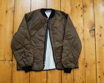 Army Green Quilted Bomber Style Liner/Lightweight Jacket