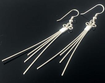 Silver Earrings Wire Wrapped Jewelry Precious Metal Jewelry