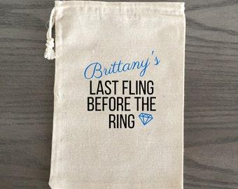 10 Bachelorette Party Favor, Hangover Kit, Survival Kit, Recovery Kit, Custom Bachelorette Party Bags - Last Fling Before the Ring Diamond