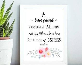 JW | Proverbs 17:17 | A true friend | SKE | Gift | Present | Pioneer | Elder's | Print | Decor | Wall Art