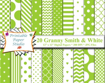 Granny Smith Green Digital Paper Pack, Green Scrapbook Paper 12x12, Green Paper, Green Colored Paper for Cardmaking, Digital Download File
