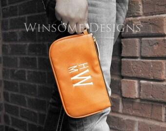 Slim Wallet-Leather Clutch-Credit Card Wallet-Monogram Wristlet-Monogram Clutch-Faux Leather Wristlet-Leather Wristlet-Monogram Purse