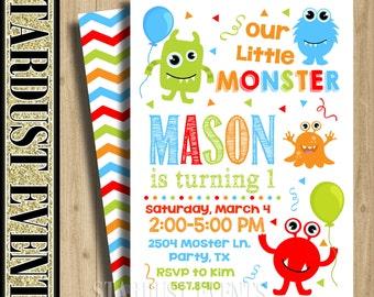 Monsters Birthday Invitation. Monster Invitation, Monster Birthday, Monster Party Invitation, Monster First Birthday