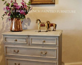 SOLD  ***** Rustic Hand Painted Gustavian Grey Chest of Drawers