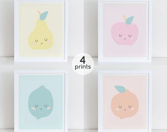 Set of 4 Fruits Art Print, Instant Download, Fruits Nursery Wall, Wall Decor, Girls Nursery Decor, Cute Fruits Print, Pastel Colors Decor