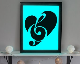 Music Note Sign, Music Note, Music Gift, Music Lover Gift, Musician Gift, Music Wall Art, Gift for Musician, Light Up Sign, Music Nightlight