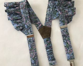 Girl's Suspenders in Paisley