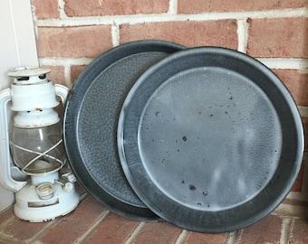 Vintage Enamelware Plates - Gray Enamelware - Enamelware Pie Plates - Gray Plates - Farmhouse Style - Rustic Style