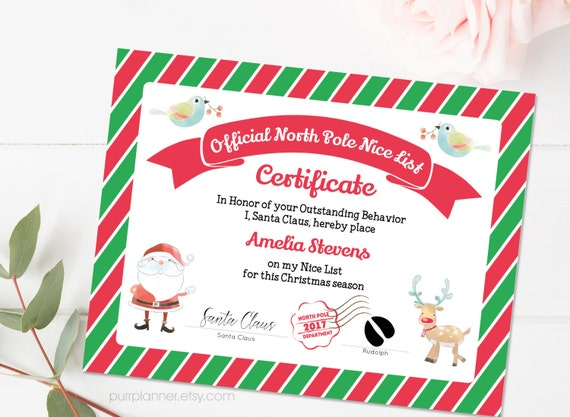 Printable santa nice list nice certificate template editable printable santa nice list nice certificate template editable note from santa north pole letter christmas printables doc file yelopaper Images