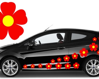 32,red & yellow flower car decals,stickers in three sizes