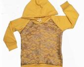 Mustard lace Raglan sweatshirt hoodie baby hoodie, toddler hoodies, hoody, baby sweatshirts, baby girls gray lace