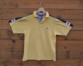 Vintage 1990's Tommy Hilfiger Soft Yellow Polo with Small Buttons Size Large Fits Womens Small