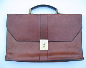"Frank CLEGG BRIEFCASE Belting Leather | Main Compartment plus Two Pockets 11""x17.25"" Single Gusset 