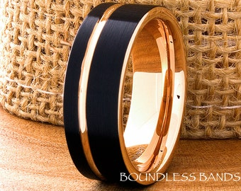 Tungsten Ring Black And Rose Gold Wedding Band 8mm Mens Women's His Hers Two Tone Anniversary Promise Engagement Comfort Fit Offset Grooved