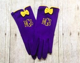 Monogrammed Gloves - Women's Gloves - Bow Gloves