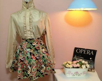 Gold Blouse.vintage. 1950 Blouse. Gold vintage Blouse.Elegant Blouse.Gold Delicate Vintage Blouse For Women 1950s. Free Shipping.Size L-XL