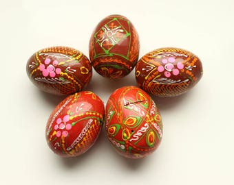 Set of 5 Multicoloured Hand Painted Wooden Easter Small Eggs, Ukrainian Pysanka, Easter Decor #4