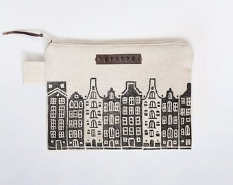 Amsterdam Zipper Jewelry Pouch, Pencil Case, Purse, Cosmetic bag with handmade print