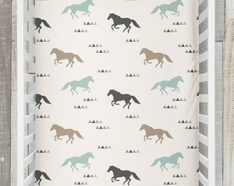 Horse nursery etsy crib sheet wild horses western nursery cowboy theme baby boy shower gift negle Choice Image