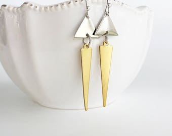 Double Triangle Earrings, Long Gold and Silver Triangle Earrings, Minimalist Geometric Earrings