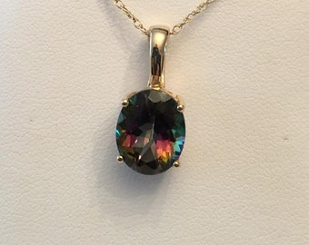 """Vintage 14k yellow gold Enhancer & Pendant with an 11x9mm Oval Mystic (Coated) Topaz on an 18"""" Chain"""