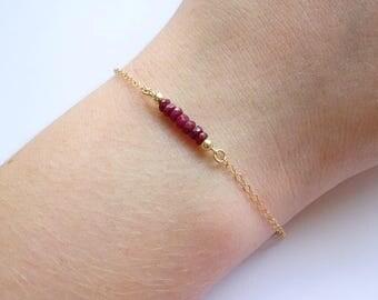 Ruby bracelet, Birthstone bracelet, Gift for her