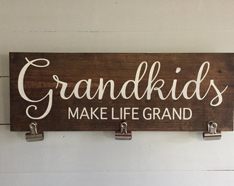 Grandkids signs, Grandkids make life grand sign, Grandkids make life grand photo holder, photograph holder,