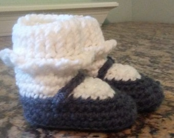 Gray and white Mary Jane style baby booties