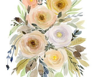 Modern Watercolor printable - Floral decor- 8x10 wall art - Vintage Inspiration - Roses