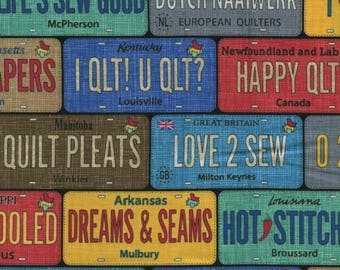 Row by Row 2017 / License Plates Fabric,  Timeless Treasures Row By Row Experience 2017 License Plates  c5061 / Yardage and Fat Quarter