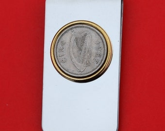 1928 ~ 1968 Irish Ireland 3 Pence Harp Coin Gold Silver Two Toned Stainless Steel Money Clip New