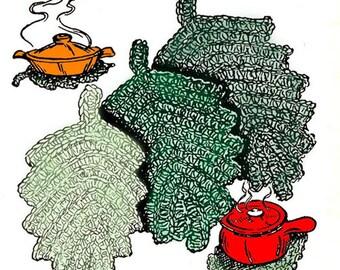 Hot Dish Mats Placemats Vintage Crochet Pattern Leaf Hot Plate Mats