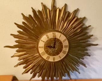 Vintage Mid Century Modern Starburst Wall Clock, Made in France, Key Wind