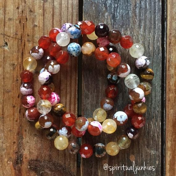 Stackable Mala Inspired Faceted Tigers Eye, Citrine, Carnelian, + Fire Agate Abundance Yoga and Meditation Bracelet (single bracelet)