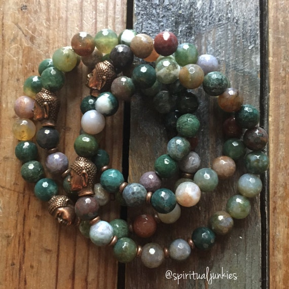 Stackable Faceted Indian Agate Yoga and Meditation Bracelet with Copper Buddha (single bracelet)