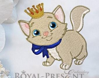 Machine Embroidery Design White kitten with golden crown