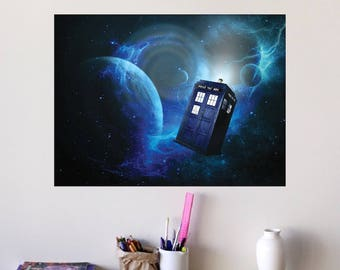Doctor Who Poster Wall Decal Blue Space Dr Who BBC Time Travel Vinyl Removable Kids Bedroom Time Lord Wall Decal Tardis Dalek Wall Art, s73