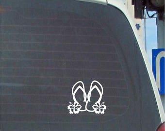Flip Flops with hibiscus  vinyl car decal