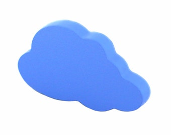 Childrens drawer knobs, Nursery dresser knobs, Baby wood drawer pulls, Blue cabinet knobs and pulls, Blue cloud decor, Blue cloud decoration