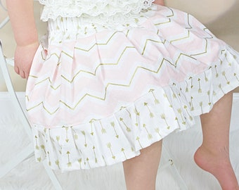 Little Girls Pink and Gold Chevron Twirl Skirt, Little Girls Pink and Gold Skirt, Pink and Gold Twirl Skirt, Chevron and Arrows Skirt