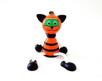 Red (orange)-black strips Tiger hanging toy, wooden animal russian doll
