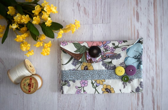 Earthy Floral Pouch. Small Pencil Holder, Makeup Pouch or Electronics Case In Yellow & Blue Floral Print with Button Close. Polka Dot Lining
