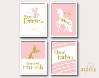 Pink Gold Whimsical art, nursery wall art prints, Play with fairies print, Scandinavian decor, nursery print, wall decor,  whimsical print