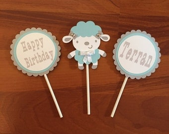 Baby Cupcake Toppers - Set of 12 - 1st Birthday Cupcake Toppers - Lamb