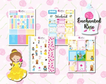Enchanted Rose - 4 pages of Fairytale Princess Planner Stickers, for Personal, Pocket, ECLP, Kikki.K Filofax, Happy Planner