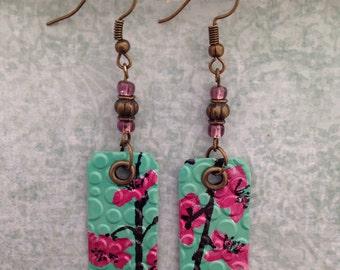 Up-cycled Arizona Tea Can Earrings, rectangle shape floral earrings